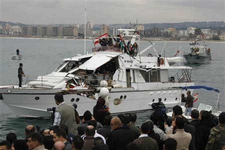 Free Gaza aid boat that was rammed by an Israeli military vessel (Reuters photo)