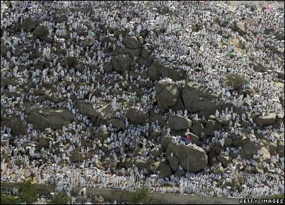 Muslim pilgrims at the Mount/Plain of Arafat