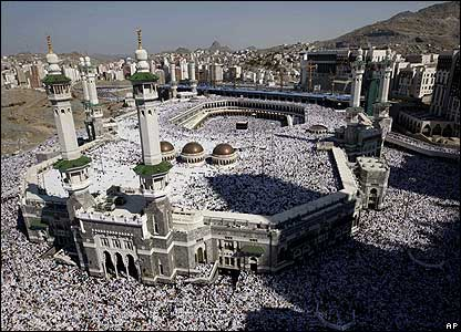 Pilgrims throng the Great Mosque in the Islamic holy city of Mecca during the Hajj