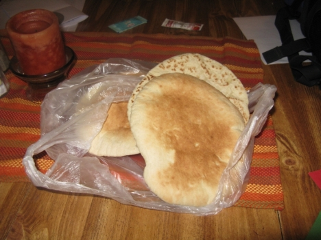 Xubz (pita bread) from a local maxbaz (bakery)