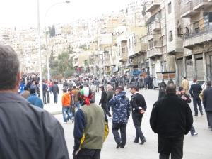 Jordanian riot police bloc the street as the protest march nears. (Friday Jan 09 2009)