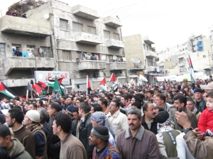 Protesters crowd the balad in Amman on Fri Jan 09 2009