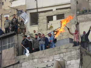 "Some shebaab burning Israeli ""flags"""