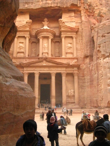 The clasic view of the Treasury in Petra from the end of the Siq
