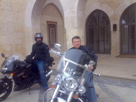 Twitter pic form HM Queen Rania of HM King Abdullah II(and son) on motorcylces