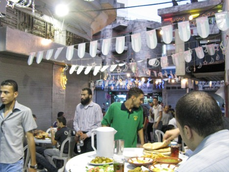 Hashem's Restaurant before iftaar during Ramadan 2009.  Note the festive lights hung across the alley.