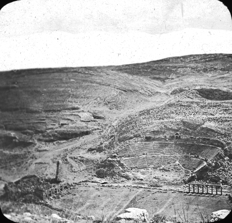 Brooklyn Museum archive photo of the Roman Amphitheater area in Rabbath Ammon towards the end of the Ottoman Period.
