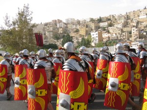 Roman soldiers start of the parade, because even if they weren't around in 1909 at least their ruins were.